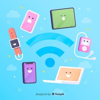 Koncepcja płaski obszar wifi z sygnałem