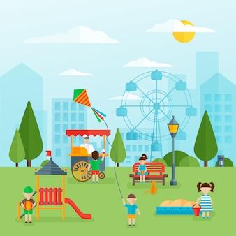 Koncepcja płaski plac zabaw dla dzieci