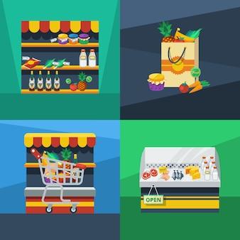 Koncepcja płaski projekt supermarketu