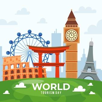 Koncepcja płaski światowy dzień turystyki