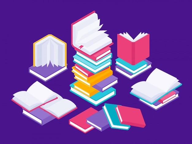 Koncepcja płaskich książek. szkolny kurs literatury, edukacja uniwersytecka i tutoriale ilustracyjne. grupuj dane książek w stosie