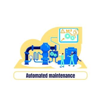 Koncepcja płaskie maszyny skomputeryzowane. optymalizacja i inżynieria. fraza automatycznej konserwacji. produkcja fabryczna ilustracja kreskówka 2d do projektowania stron internetowych. kreatywny pomysł na automatyzację