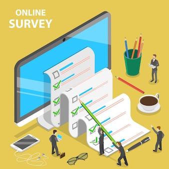 Koncepcja płaskiego izometrycznego wektora ankiety online