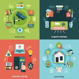 Koncepcja płaskiej konstrukcji bezpieczeństwa w domu z kontrolą klimatu, systemem monitorowania, detektorami, bezpieczną nieruchomość na białym tle ilustracji wektorowych