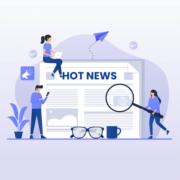 Koncepcja płaskiej konstrukcji czytaj wiadomości. ilustracja