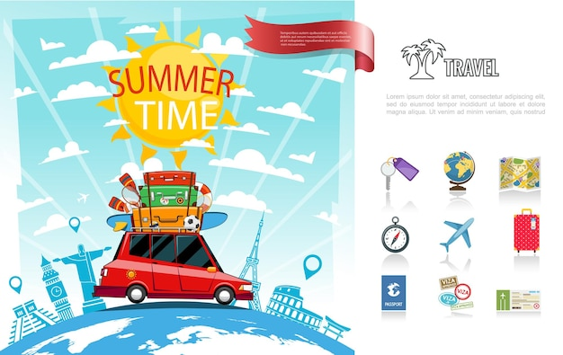 Koncepcja płaskiej letniej podróży z samochodem poruszającym się na mapie świata nawigacja kompas samolot bagaż paszport bilet ikony ilustracja,