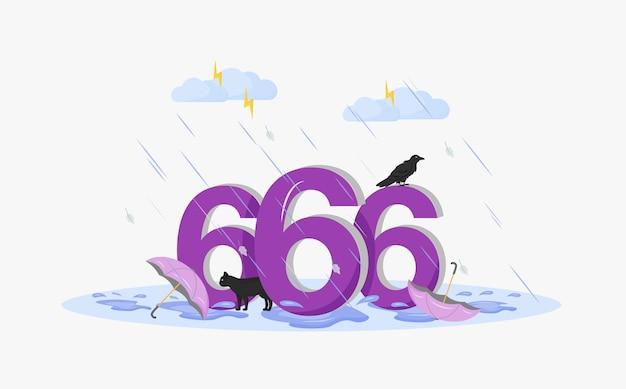 Koncepcja płaskiej liczby szatana. numer 666, czarny kot, wrona i parasole w burzy z kreskówek 2d