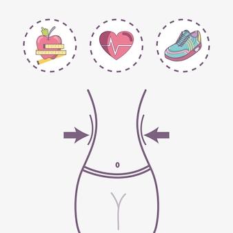 Koncepcja płaskiej linii stonowanych fitness ciała