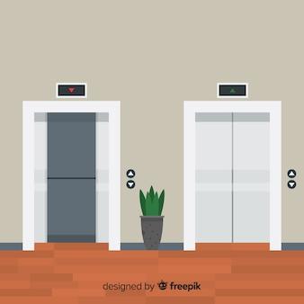 Koncepcja płaskiej windy z otwartymi i zamkniętymi drzwiami