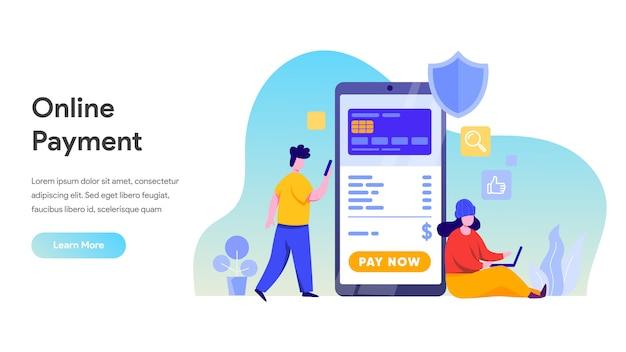 Koncepcja płatności mobilnej lub przelewu na stronę docelową, stronę główną, stronę internetową