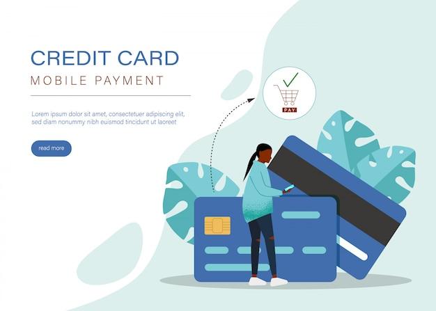 Koncepcja płatności mobilnych lub przekazów pieniężnych. rynek e-commerce zakupy online ilustracji z postaciami malutkich ludzi. szablon strony docelowej, baneru, prezentacji, mediów społecznościowych, mediów drukowanych