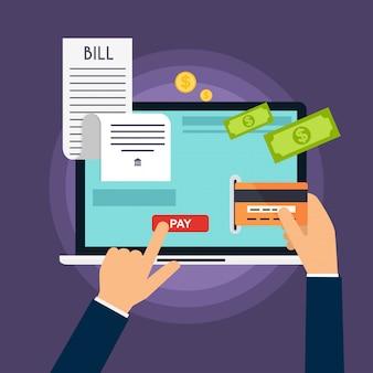 Koncepcja płatności mobilnych. telefon ustanawiające na stercie rachunku.