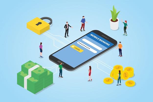 Koncepcja płatności mobilnych z pieniędzmi smartfona i bezpiecznym obszarem logowania logowania