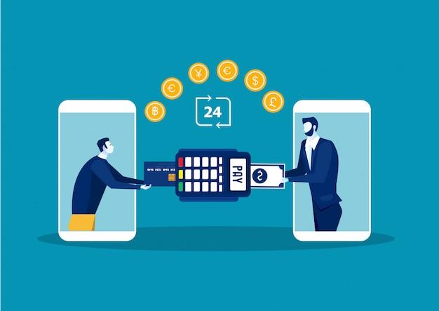 Koncepcja płatności online człowieka. transakcja terminala płatniczego. zapłać kartą.