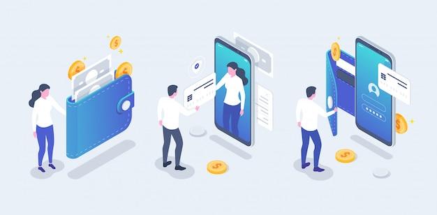 Koncepcja płatności online i bankowości mobilnej online. izometryczna płatność zbliżeniowa