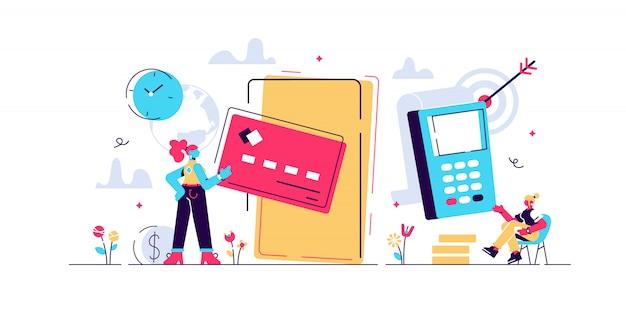 Koncepcja płatności online i mobilne za stronę internetową, media społecznościowe, dokumenty, karty, plakaty. ilustracja pos terminal potwierdza płatność za pomocą smartfona, płatności mobilnej, bankowości internetowej.