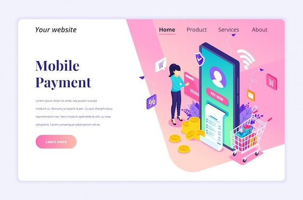 Koncepcja płatności online, izometryczny szablon strony docelowej elektronicznego przelewu pieniędzy