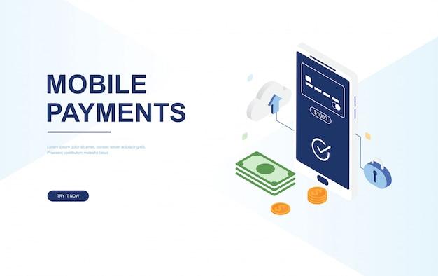 Koncepcja płatności online. szablon sieci web płaskie izometryczne strony docelowej
