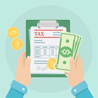 Koncepcja płatności podatku. obliczanie zwrotu podatku. formularz podatkowy z papierowymi dokumentami, formularzami, pieniędzmi