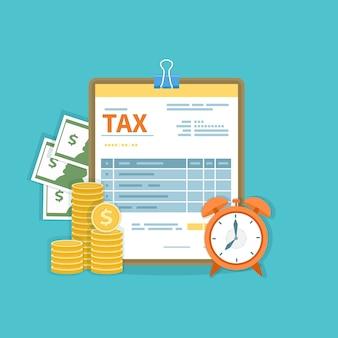 Koncepcja płatności podatku. podatki rządowe, stanowe. kalkulacja finansowa, dług. formularz podatkowy, gotówka, złote monety, budzik. ikona wypłaty.
