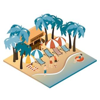 Koncepcja plaży izometryczny