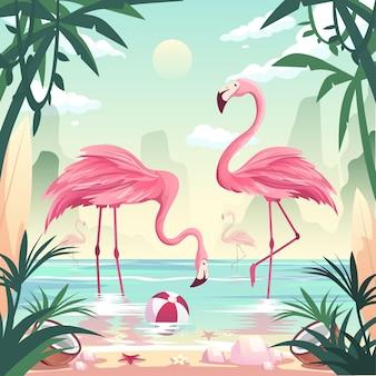 Koncepcja plaży latem. flamingi łowiące ryby nad brzegiem morza