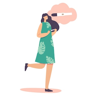 Koncepcja płodności, macierzyństwa lub macierzyństwa. szczęśliwa postać kobieca z pozytywnym testem ciążowym. wesoła kobieta trzyma kij z dwoma paskami. planowanie rodziny, ilustracja kreskówka ludzie wektor