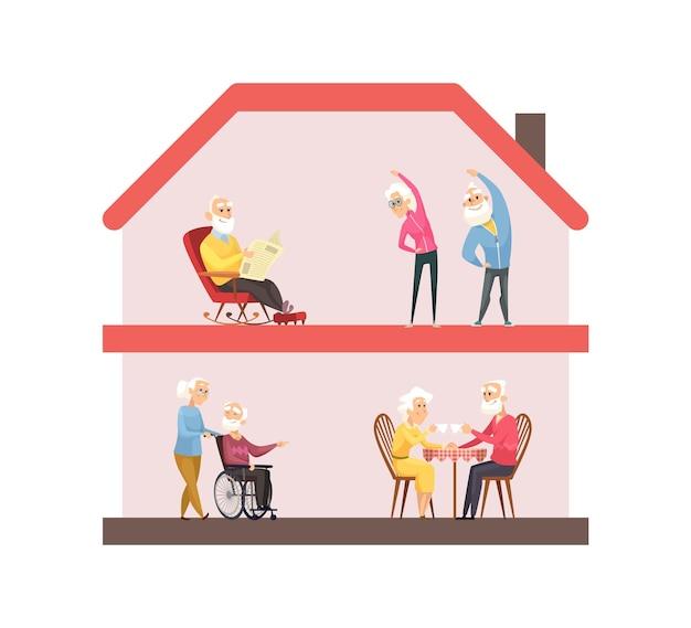 Koncepcja pobytu w domu. dom opieki, styl życia osób starszych. starsi ludzie uprawiają sport, piją herbatę czytając. ilustracja wektorowa życia na emeryturze. ochrona osób starszych przed koronawirusem, profilaktyka zdrowotna kwarantanny