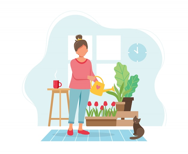 Koncepcja pobytu w domu. kobiety podlewania rośliny w wygodnym nowożytnym wnętrzu.