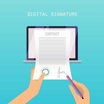 Koncepcja podpisu cyfrowego. umowa online na ekranie. ilustracja.