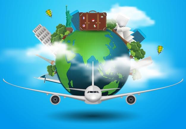Koncepcja podróżuje po świecie samolotami