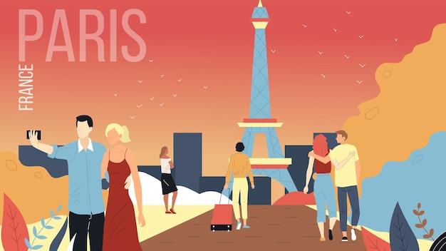 Koncepcja podróży do paryża, francja cityscape z zabytkami. mężczyźni i kobiety: rezerwuj wycieczki, podziwiaj widok na eiffla, rób selfie, baw się dobrze. płaski styl kreskówki. ilustracji wektorowych.