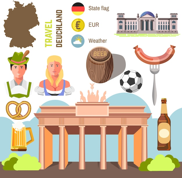Koncepcja podróży niemcy landmark płaski ikony designu.