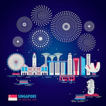 Koncepcja podróży po singapurze ze sceną nocną w płaskiej konstrukcji