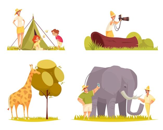 Koncepcja podróży safari płaskie śmieszne kompozycje z żyrafą jedzącą drzewo pozostawia rodzinę na zewnątrz namiotu