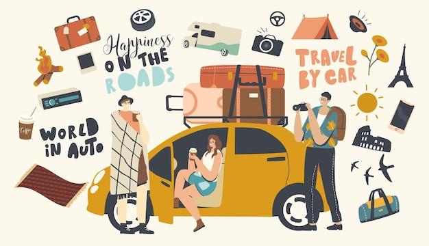 Koncepcja podróży samochodem. przyjaciółka z materiałami kempingowymi i bagażem podróżowanie samochodem. postacie męskie i żeńskie cieszą się turystyką samochodową. ludzie piją kawę, robią zdjęcia. liniowa ilustracja wektorowa