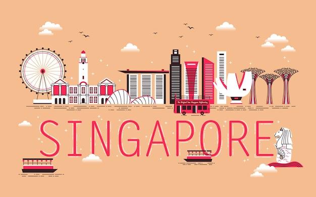 Koncepcja podróży singapuru ze sceną zatoki w płaskiej konstrukcji