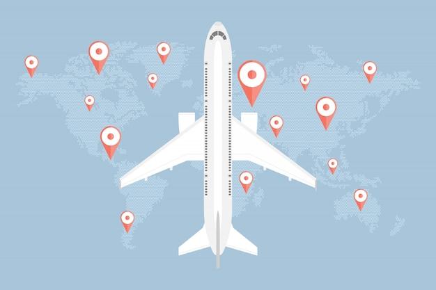 Koncepcja podróży świata, mapa kropek z pinami i samolotem
