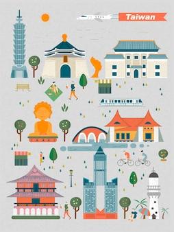 Koncepcja podróży tajwanu - kolekcja zabytków