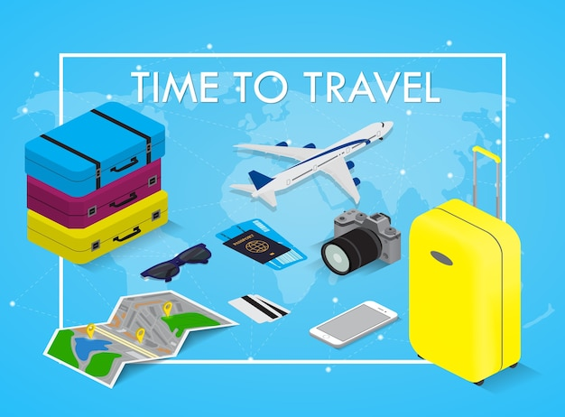Koncepcja podróży w stylu izometrycznym czas w podróży. paszport, bilety, torby i samolot. sprzęt podróżny.