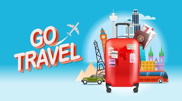 Koncepcja podróży wakacyjnych. podróżuj
