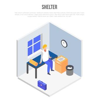 Koncepcja pokoju shelter, izometryczny styl