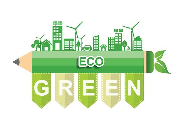Koncepcja połączenia ekologii. eco zielony