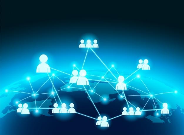 Koncepcja połączenia globalnego biznesu. global with people komunikuje się z globalnym połączeniem sieciowym.