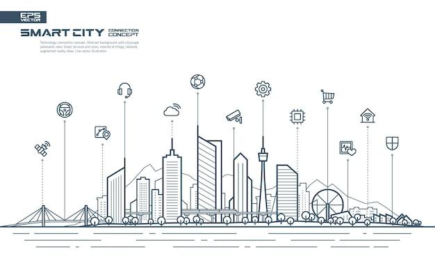 Koncepcja połączenia inteligentnego miasta. futurystyczny krajobraz technologiczny ze zintegrowanymi ikonami cienkiej linii.