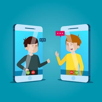 Koncepcja połączenia wideo z ludźmi rozmawiającymi
