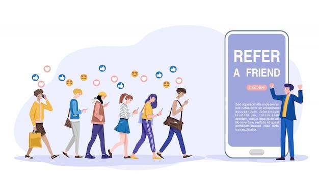 Koncepcja polecenia znajomego, influencer promuje produkty dla swoich obserwujących w internecie. wektor