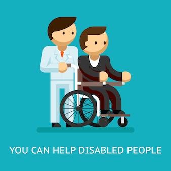 Koncepcja pomocy osób niepełnosprawnych. medycyna i opieka oraz wózek inwalidzki.