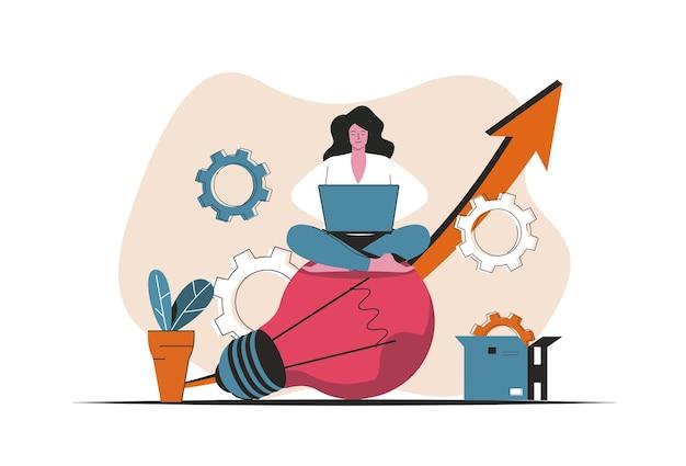Koncepcja pomysł na biznes na białym tle. generowanie i wdrażanie innowacji biznesowych. scena ludzi w płaskiej konstrukcji kreskówki. ilustracja wektorowa do blogowania, strony internetowej, aplikacji mobilnej, materiałów promocyjnych.