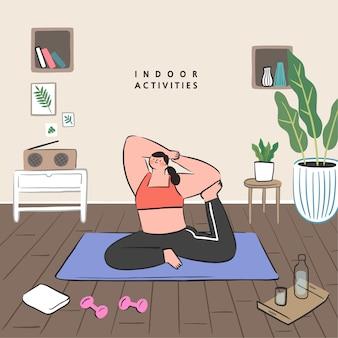 Koncepcja pomysłów hobby, które można zrobić w domu. pozostań w domu seria koncepcji. ćwiczyć jogę